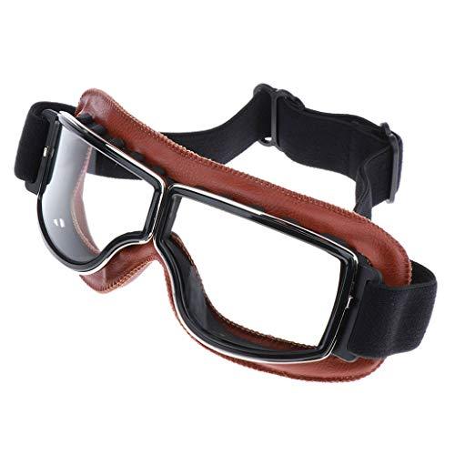 perfk Braun PU-Leder Motorradbrille Schutzbrille Überbrille Sonnenbrille Helmbrille Uv-Schutz