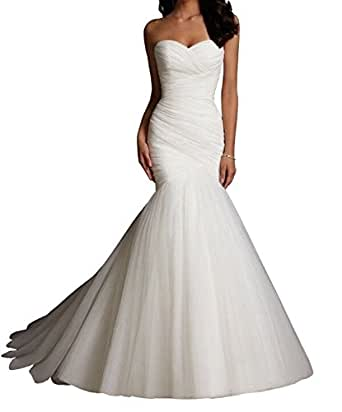 Lydiags White Tulle Mermaid Wedding Dresses Bridal Dress