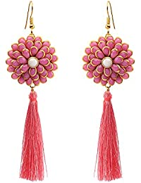 Sanjog Pink Flourish Stone Tassel Elegant Earring for Women Girls