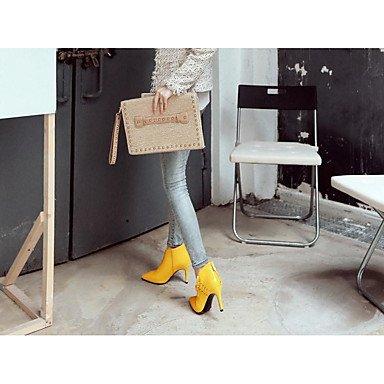 Moda Donna Sandali Sexy donna tacchi Primavera / Autunno tacchi pelle vestito / Casual Stiletto Heel Lace-up Nero / Giallo / grigio altri Yellow