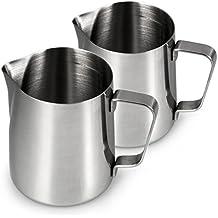 Jarra de leche de acero inoxidable para espumar en un juego de 2unidades, jarra de leche (500ml, espumador de leche para café 0,5litros, espuma de leche, Barista Jarra para hacer espuma, Cafe, color: plata brillante, marca youzings