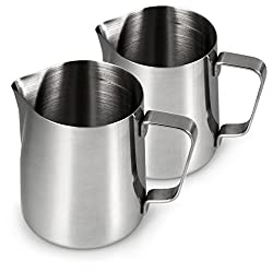 Stainless Steel Milk Jug For Frothing Milk In A Set Of 2, Milk Jug 500 Ml, Milk Frother For Coffee 0.5 Litres, Milk Frothing, Barista Frothing Jug, Cafe, Colour: Glossy Silver, Brand Youzings
