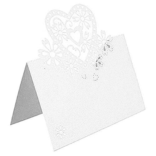 50Laser Schnitt Hohl Love Herz Hochzeit Party Tischkarten Geburtstag Weihnachten Dekoration für weiß