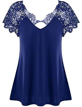 Juleya Camiseta Mujer Camisa de Encaje O Cuello Corto Mangas Tops Blusa Ajustada de Color Solide Suave Cómodo