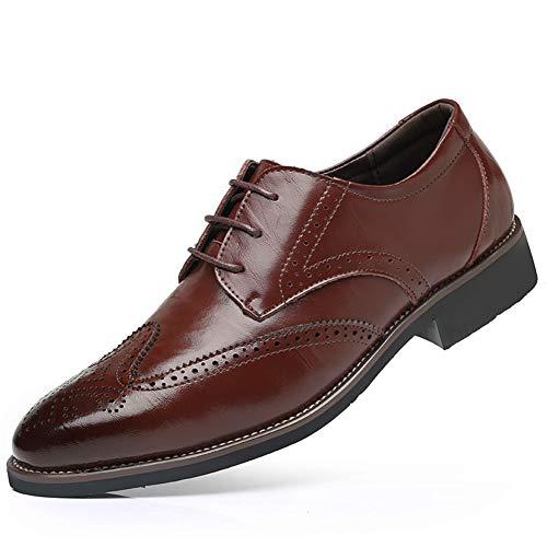 Herren Lederschuhe, Popoti Anzugschuhe Brogue Lackleder Hochzeit Anzug Schuhe Derby Freizeit Business Uniform Oxford Schuhe Spitze Schuhe Lace Up Schnürhalbschuhe für Männer (Rot, 47)