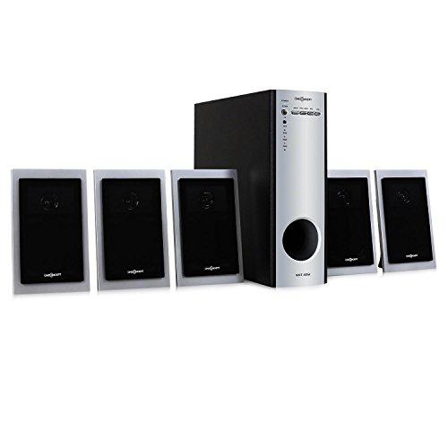 oneConcept Home Theater (subwoofer di 10 cm 30 Watt RMS, 5 altoparlanti satelliti x 15 Watt RMS, ingressi e uscite RCA per collegare dispositivi esterni) - nero/grigio