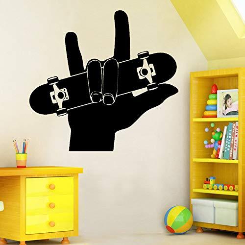 jiushizq Finger Skate Boarding Wandkunst Aufkleber Wandaufkleber PVC Material DIY Wandbild Für Wohnzimmer Sofa Hintergrund Dekoration Accessorise Schwarz L 43 cm X 40 cm -