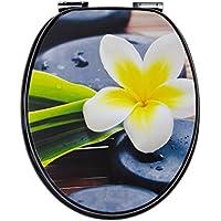 WC-Sitz Dekor Spa Flower | Toilettensitz | WC-Brille aus Holz | Soft-Close Absenkautomatik | Metall-Scharnier | Fast-Fix-Schnellbefestigung | Toilettendeckel | Klodeckel | WC Deckel   Klobrille