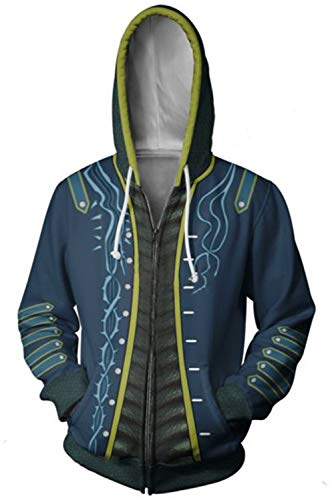 Cosplay Cry Kostüm Devil May - MingoTor Herren Damen Devil May Cry Vergil Nelo Angelo Dark Slayer Kapuzenjacke 3D Pullover mit Kapuze Sweatjacke Hoodie Cosplay Kostüm Unisex Blau XL