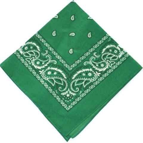 KELLY dark GREEN cotton bandana scarf SQUARE BLACK WHITE PAISLEY