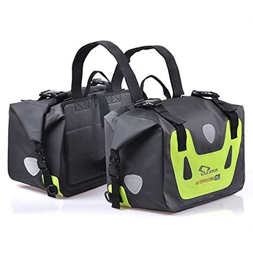 CHQQQ Motorrad Tasche GroßE KapazitäT 50L Wasserdicht Beide Seiten Hintere Sitztasche Mit Nachtreflektierenden Aufklebern,Green