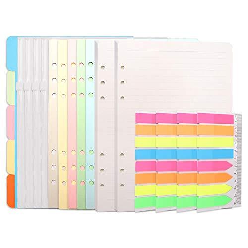 Set di ricariche per quaderni formato A5, 90 fogli + 5 divisori colorati + 4 buste con chiusura lampo + 4 etichette adesive e righello + 5 divisori colorati, 6 fori per agenda