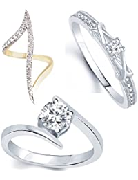 Lady Touch Combo Of Gold & Silver Plated American Diamond Ring For Girls & Women