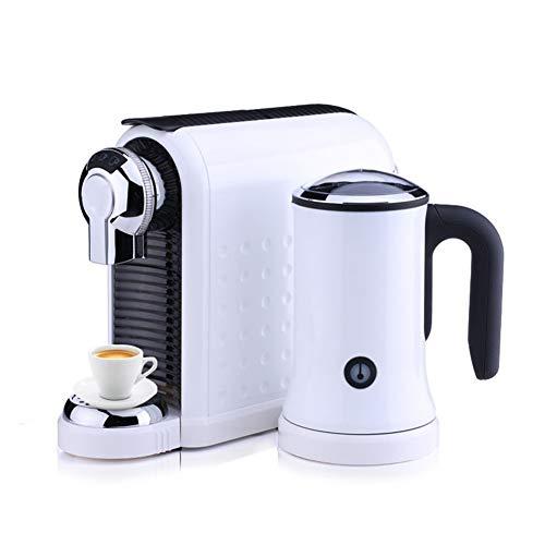 BaRuXi 19bar Halbautomatischer Tropfenfilter Italienische Kapsel-Kaffeemaschine mit Milchschaummaschine, 36x9,5x25,5 cm, 5-Tassen-Funktion, groß 800ml Wassertank Weiß