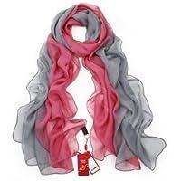 SIGI Damenmode Seidenschal Farbverlauf Schal Schals - rot