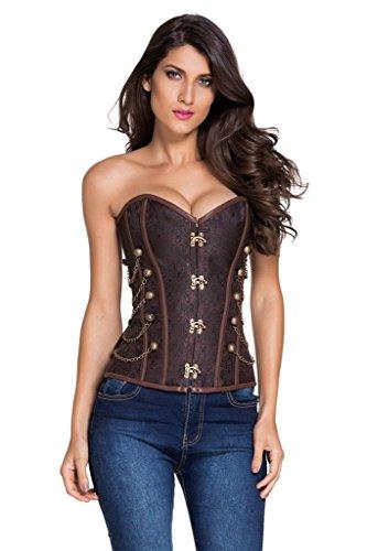 Saphira fashion. Corset bustier marron style Steampunk . Chainettes. String inclus