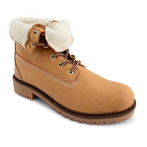 Damen Casual Schnürschuh, flach, gepolsterte Knöchel gegen Arbeitsstiefel Yellow Fleece Lined Boots