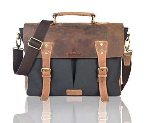 LEADERACHI Leather 15″ Black Laptop Messenger Briefcase Bag