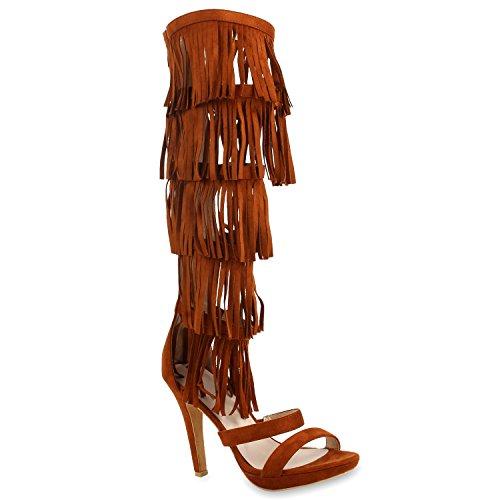Damen Fransen Langschaft Sandaletten High Heels Stilettos Braun
