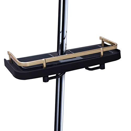 LOUTY schwarz Kunststoff Dusche Regal Caddy, Badezimmer Tablett Rack Bad Aufbewahrung Ständer Halterung für Seife Shampoo Conditioner, kein Bohren an der Wand montiert nie Rost - Korb-tablett-ständer
