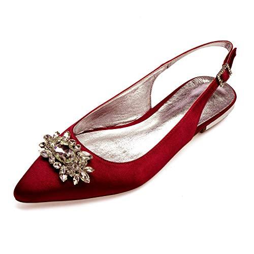 Zxstz scarpe da donna satin comfort ballerina scarpe da sposa punta piatta tacco a punta strass scintillante fiore per matrimonio, rosso scuro, 40