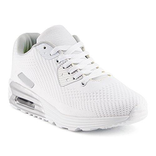 FiveSix Herren Damen Sportschuhe Strick Sneaker Laufschuhe Weiss-M EU 45