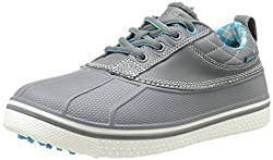crocs Womens Allcast Duck Golf Shoe,Charcoal/Electric Blue,4 M US