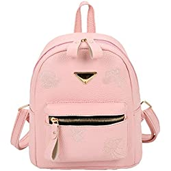 Bolso, Manadlian Mochila pequeña de viaje Taleguilla para mujer Bolsa de escuela Cartera Mochila de hombro (:23cm/9.1''(H)*21cm/8.3''(L)*12cm/4.7(W), Rosa)