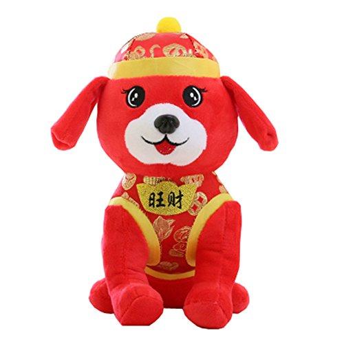 Jahr der Hund Maskottchen Wangcai Lunar New Year Welpen Plüschtier Puppe, D1 (Tiere Realistische Ausgestopfte Hund)