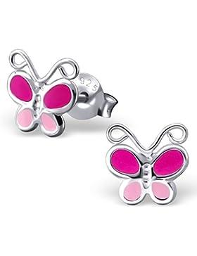 JAYARE Kinder-Ohrstecker Schmetterling 925 Sterling Silber Emaille 7 x 7 mm rosa pink Ohrringe