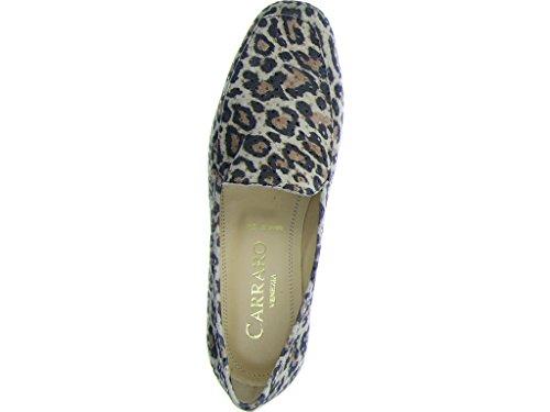 Carraro Luigi Italy  6800 315 Leopardo, Mocassins pour femme Beige