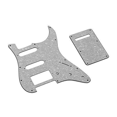 Kalaok SSH Guitar Pickguard Set mit Back Plate Schrauben PVC Pick Guard für American ST E-Gitarren White Pearl American White Plate