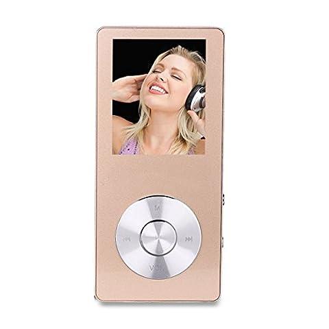Peficecy MP3-Player, 8 GB Metall Musik-Player Hi-Fi Sound, Eingebaute Lautsprecher, mit Sprach-Recorder und FM-Radio-Funktion, Support Expandable bis zu 32 GB (P230