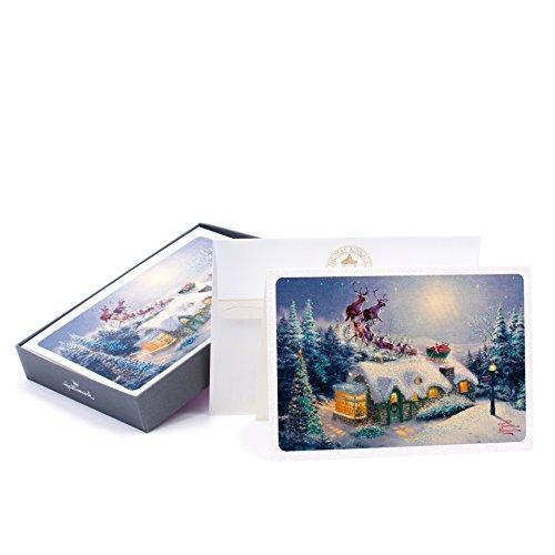 Hallmark Thomas Kinkade Christmas Boxed Cards, Santa (16 Cards and 17 Envelopes)