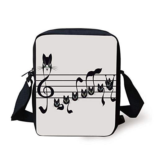 CBBBB Music Decor,Notes Kittens Kitty Cat Artwork Notation Tune Children Halloween Stylized, Print Kids Crossbody Messenger Bag Purse (Kid Halloween-make-up Cat)