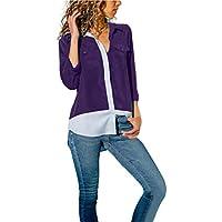 Strung Damen Casual Hemd Langarm Tunika Top Taschen Jumper Knopf T-Shirts Tops Bluse Neu Herbst Patchwork Sweatshirt T-Shirt Frauen Mode Oberteile Mantel Sweater Oberteile