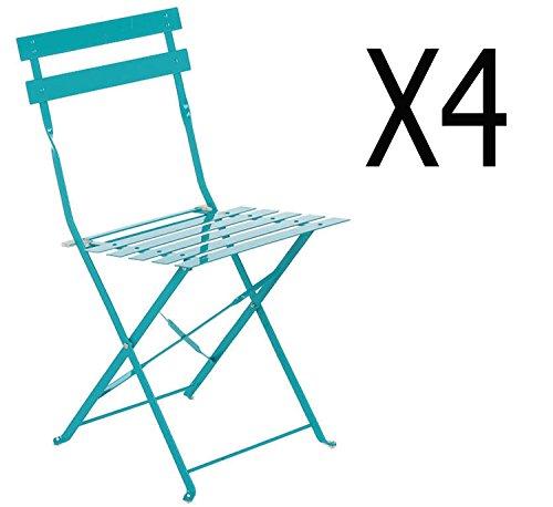 PEGANE Lot de 4 chaises Pliantes en Acier Coloris Lagon - Dim: 42 x 46 x 80 cm