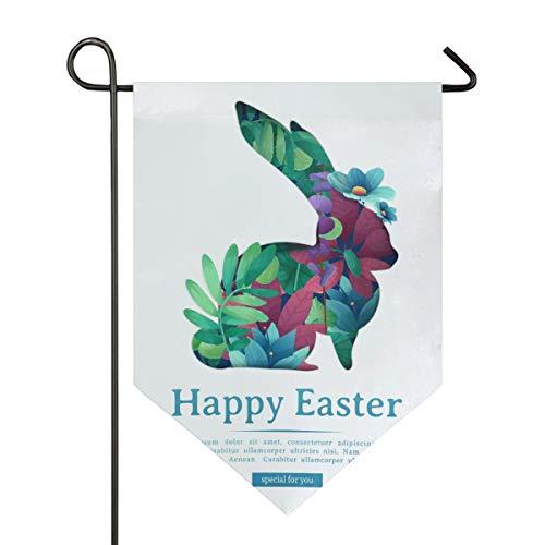 sen Kaninchen Garten Flagge doppelseitig Polyester Hofflagge für Haus Haus Outdoor Dekoration 30,5 x 45,7 cm, Polyester, Multi, 12x18.5 Inch ()