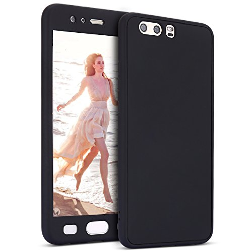 Custodia Huawei P10 Plus, Cover Huawei P10 Plus Full Body Silicone, SainCat Custodia 360 Gradi Ultra Slim Silicone Cover per Huawei P10 Plus, Custodia 360 Gradi Silicone Case Antiscivolo Gomma Ultra Sottile Morbida Gel Ultra Soft Cover TPU Case Ultra Thin Custodia Cover Bumper Antipolvere Ultra Protettiva Anti-scratch Bumper Cover per Huawei P10 Plus-Nero