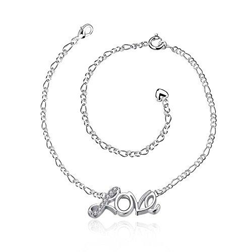 Sissi Jewelry LOVE Fußkette Silver Plated 20+10cm Fußkettchen YCJL-001