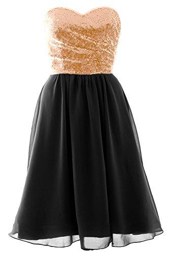 MACloth Elegant Strapless Short Bridesmaid Dress Sequin Chiffon Formal Gown Rose Gold-Black