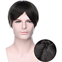 Pelucas Hombre Pelo Natural Prótesis Capilar 100% Remy Cabello Humano [Base de Monofilamento+