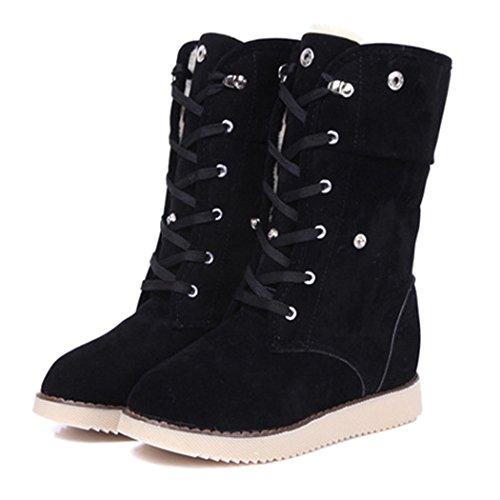 ZEARO Damen Winter warm Schnee-Aufladungen verdicken Faux Fur Suede Shoes (Boot Lace Up Suede Faux)
