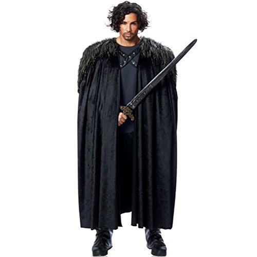 Wächter Kunstfellumhang von Game of Thrones, Jon Snow, Sam Tarly, schwarz, (Jon Snow Kostüm)