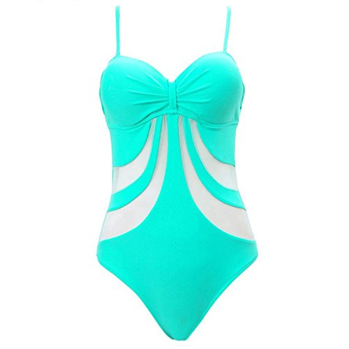 PRIDE S Hollow Stripes Serie Siamese Bikini Spa Badeanzug Beach Bademode Grün