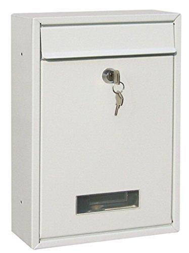 Preisvergleich Produktbild Weiß Verschließbar Außen Briefkasten Briefpost Post Kiste Briefkasten Mit Montage Set