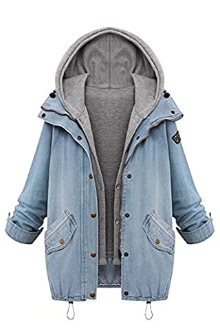 Women Casual Long Sleeve 2 Pieces Washed Hooded Denim Jacket