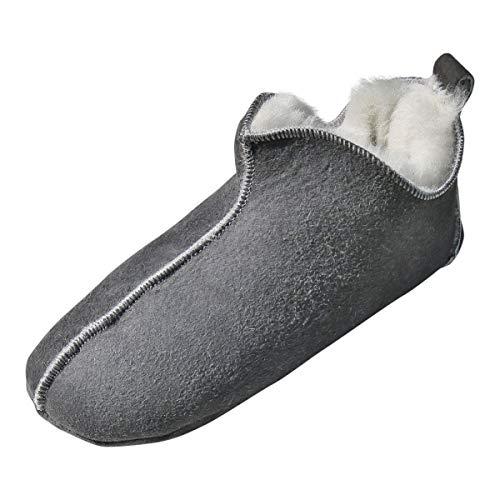 Hollert Lammfell Hausschuhe - Bali Fellschuhe Lederschuhe Bettschuhe Puschen Schuhgröße EUR 41, Farbe Grau/Weiß
