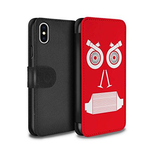 Stuff4 Coque/Etui/Housse Cuir PU Case/Cover pour Apple iPhone X/10 / Radiateur/Bleu Design / Visages Pièce Voiture Collection Turbo/Rouge