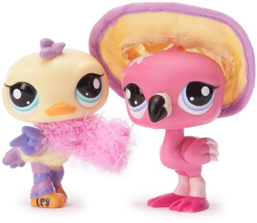 Littlest pethsop-25877-Figur-Petshop Duo-1826/1827-Vogel gelb + Flamingo (Flamingo Littlest Shop Pet)
